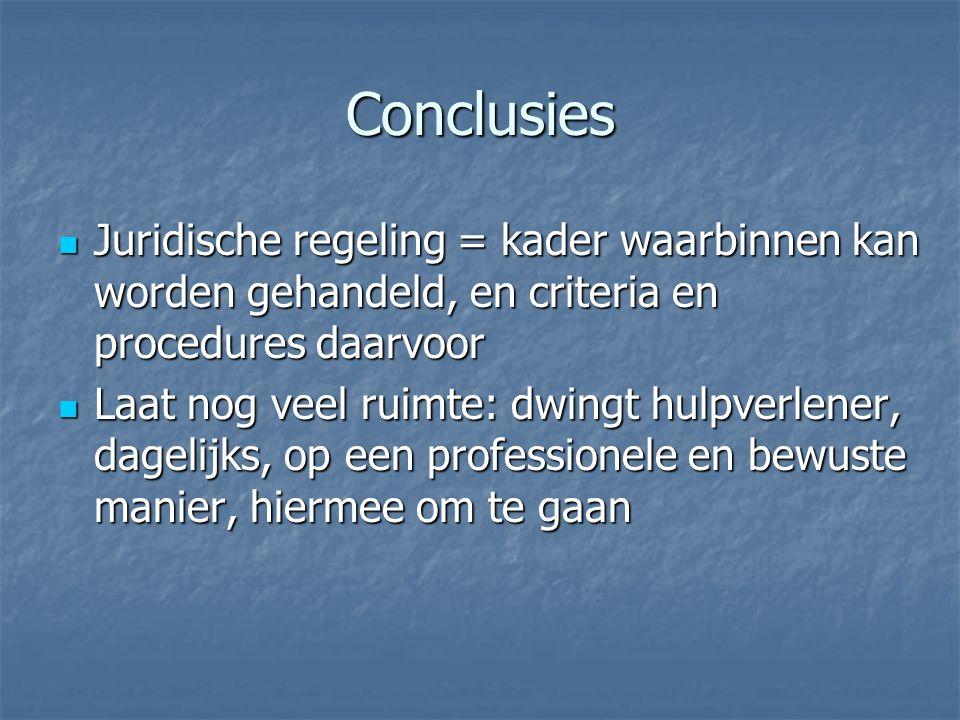 Conclusies Juridische regeling = kader waarbinnen kan worden gehandeld, en criteria en procedures daarvoor Juridische regeling = kader waarbinnen kan