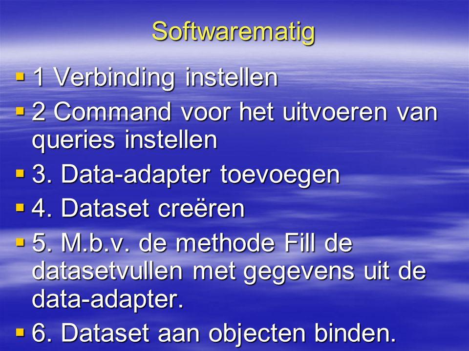Softwarematig  1 Verbinding instellen  2 Command voor het uitvoeren van queries instellen  3. Data-adapter toevoegen  4. Dataset creëren  5. M.b.