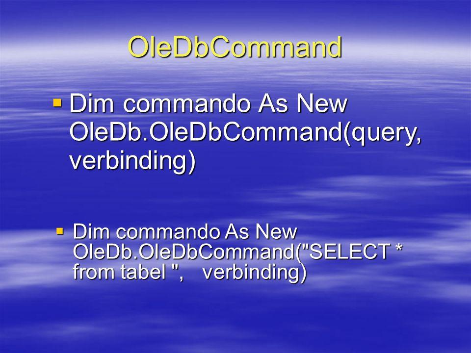 OleDbCommand  Dim commando As New OleDb.OleDbCommand(