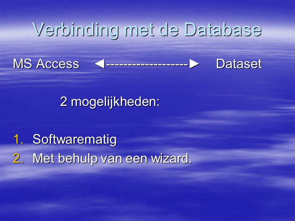 Verbinding met de Database MS Access ◄-------------------► Dataset 2 mogelijkheden: 2 mogelijkheden: 1.Softwarematig 2.Met behulp van een wizard.