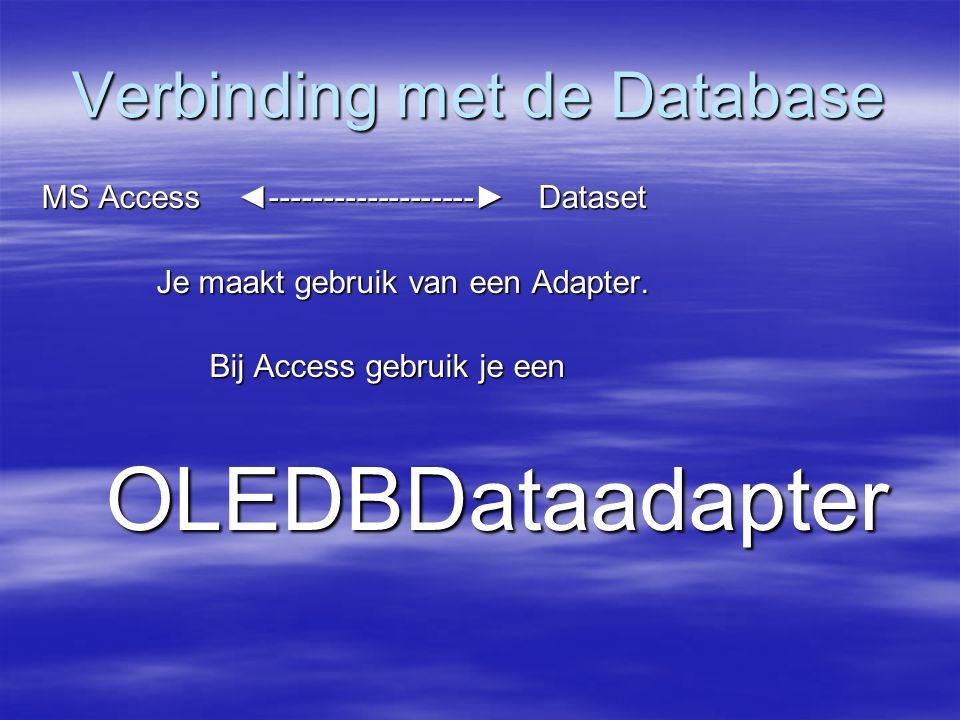 Verbinding met de Database MS Access ◄-------------------► Dataset Je maakt gebruik van een Adapter. Je maakt gebruik van een Adapter. Bij Access gebr