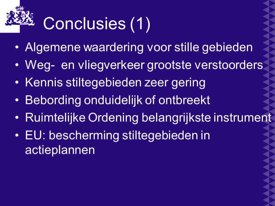 Conclusies (1) Algemene waardering voor stille gebieden Weg- en vliegverkeer grootste verstoorders Kennis stiltegebieden zeer gering Bebording onduide