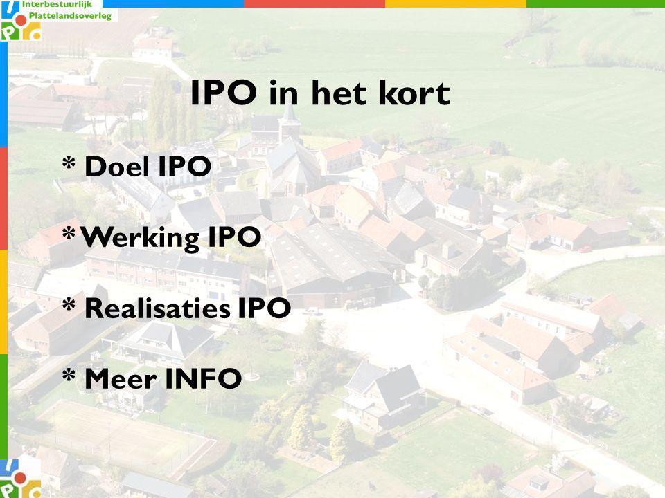 * Doel IPO * Werking IPO * Realisaties IPO * Meer INFO IPO in het kort
