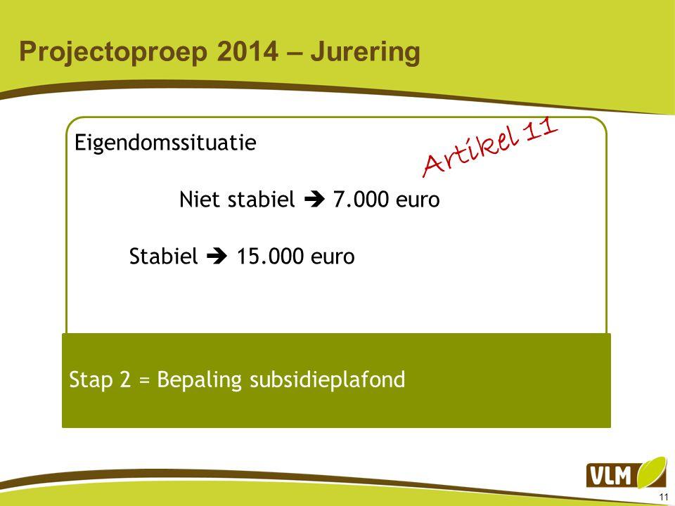 11 Projectoproep 2014 – Jurering Eigendomssituatie Niet stabiel  7.000 euro Stabiel  15.000 euro Stap 2 = Bepaling subsidieplafond Artikel 11