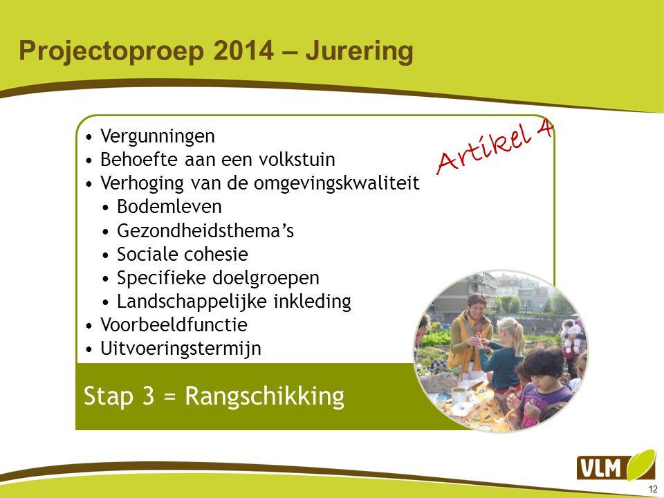 12 Projectoproep 2014 – Jurering Vergunningen Behoefte aan een volkstuin Verhoging van de omgevingskwaliteit Bodemleven Gezondheidsthema's Sociale coh
