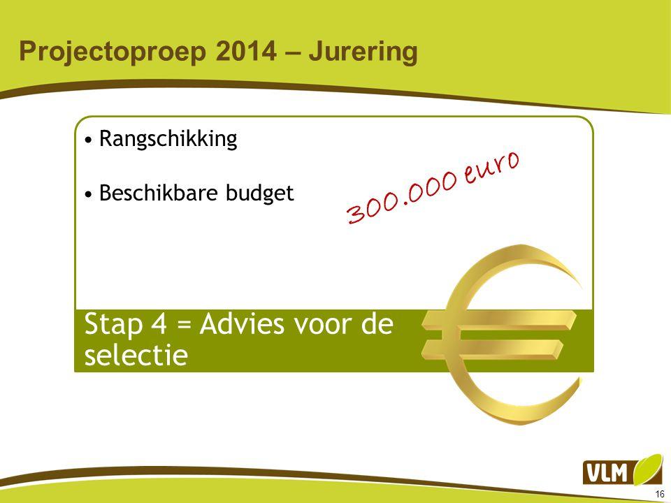 16 Projectoproep 2014 – Jurering Rangschikking Beschikbare budget Stap 4 = Advies voor de selectie 300.000 euro