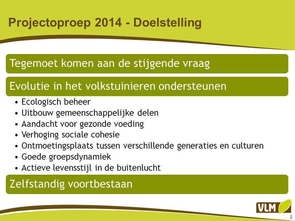 2 Projectoproep 2014 - Doelstelling Tegemoet komen aan de stijgende vraagEvolutie in het volkstuinieren ondersteunen Ecologisch beheer Uitbouw gemeens