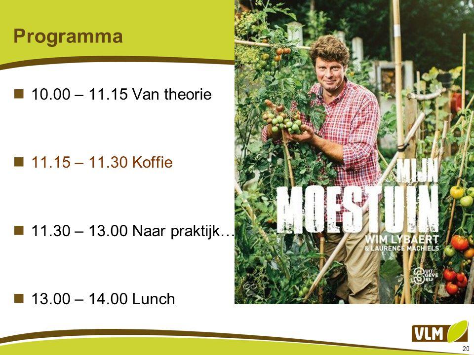 20 Programma 10.00 – 11.15 Van theorie 11.15 – 11.30 Koffie 11.30 – 13.00 Naar praktijk… 13.00 – 14.00 Lunch