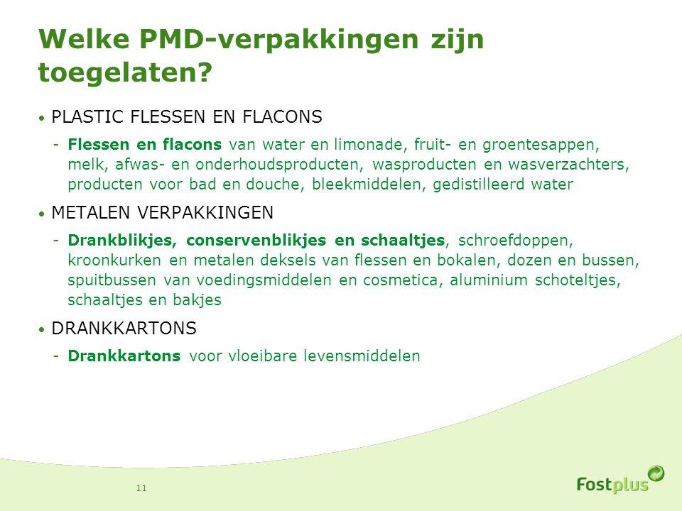 Welke PMD-verpakkingen zijn toegelaten? PLASTIC FLESSEN EN FLACONS -Flessen en flacons van water en limonade, fruit- en groentesappen, melk, afwas- en