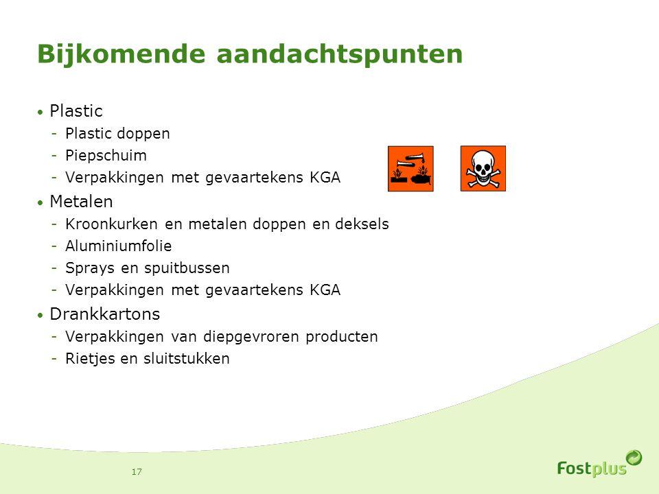 Bijkomende aandachtspunten Plastic -Plastic doppen -Piepschuim -Verpakkingen met gevaartekens KGA Metalen -Kroonkurken en metalen doppen en deksels -A