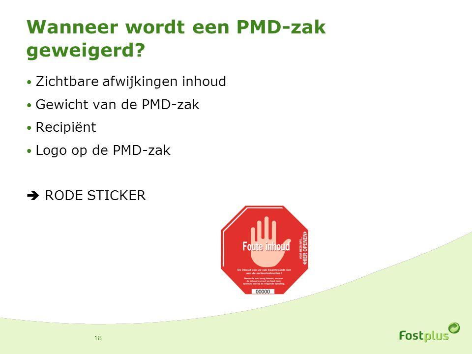 Wanneer wordt een PMD-zak geweigerd? Zichtbare afwijkingen inhoud Gewicht van de PMD-zak Recipiënt Logo op de PMD-zak  RODE STICKER 18