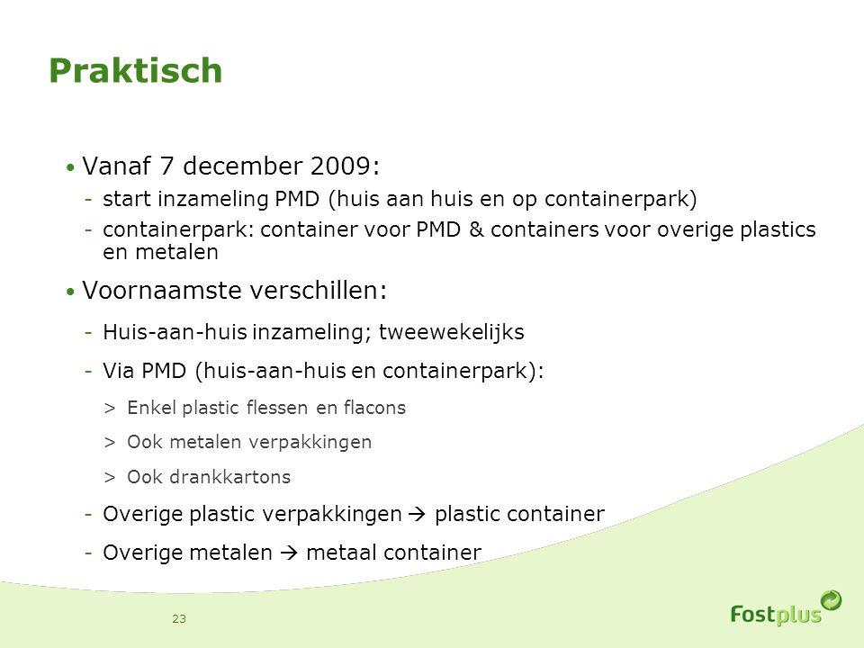 Praktisch Vanaf 7 december 2009: -start inzameling PMD (huis aan huis en op containerpark) -containerpark: container voor PMD & containers voor overige plastics en metalen Voornaamste verschillen: -Huis-aan-huis inzameling; tweewekelijks -Via PMD (huis-aan-huis en containerpark): >Enkel plastic flessen en flacons >Ook metalen verpakkingen >Ook drankkartons -Overige plastic verpakkingen  plastic container -Overige metalen  metaal container 23