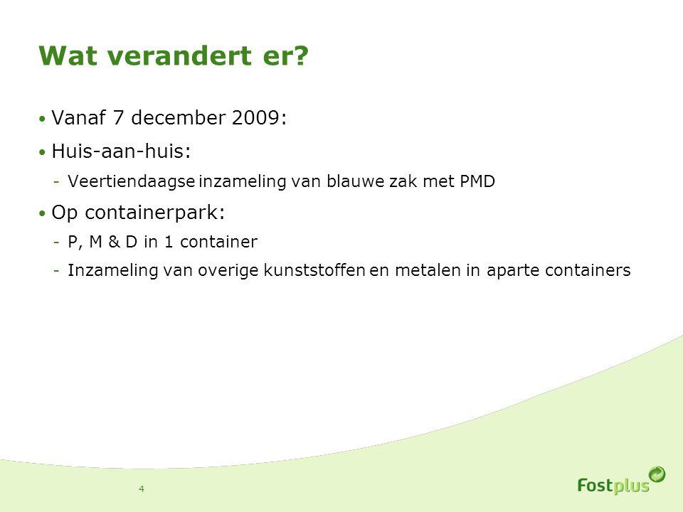 Wat verandert er? Vanaf 7 december 2009: Huis-aan-huis: -Veertiendaagse inzameling van blauwe zak met PMD Op containerpark: -P, M & D in 1 container -