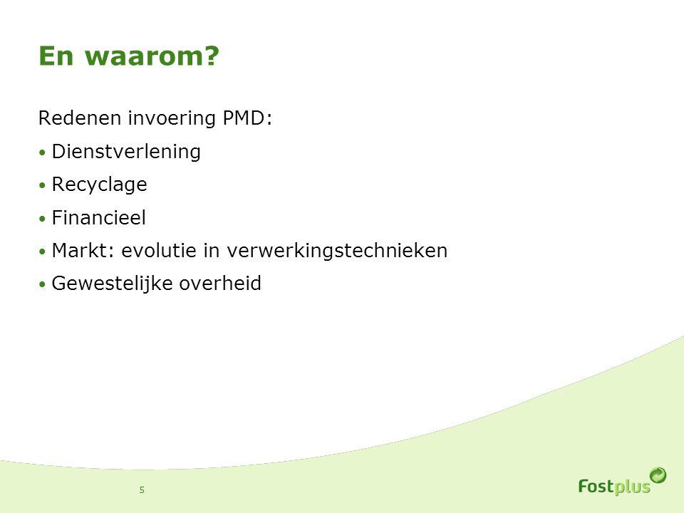 En waarom? Redenen invoering PMD: Dienstverlening Recyclage Financieel Markt: evolutie in verwerkingstechnieken Gewestelijke overheid 5