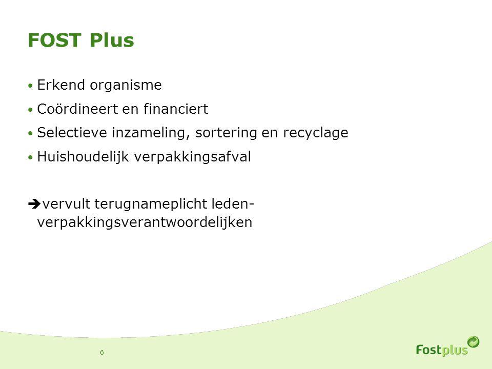 FOST Plus Erkend organisme Coördineert en financiert Selectieve inzameling, sortering en recyclage Huishoudelijk verpakkingsafval  vervult terugnameplicht leden- verpakkingsverantwoordelijken 6