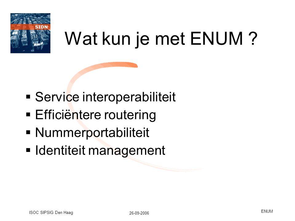 26-09-2006 ISOC SIPSIG Den Haag ENUM Wat kun je met ENUM .