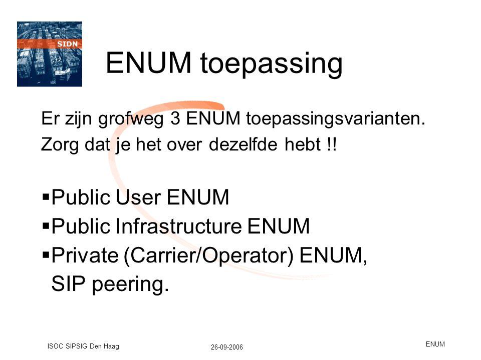 26-09-2006 ISOC SIPSIG Den Haag ENUM ENUM toepassing Er zijn grofweg 3 ENUM toepassingsvarianten.
