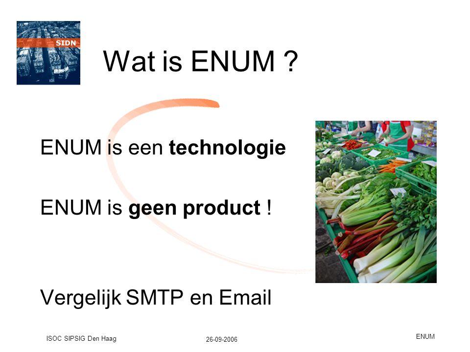 26-09-2006 ISOC SIPSIG Den Haag ENUM Wat is ENUM .