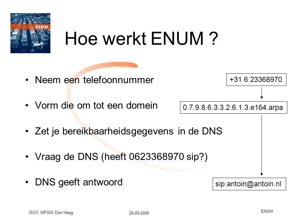 26-09-2006 ISOC SIPSIG Den Haag ENUM Hoe werkt ENUM .