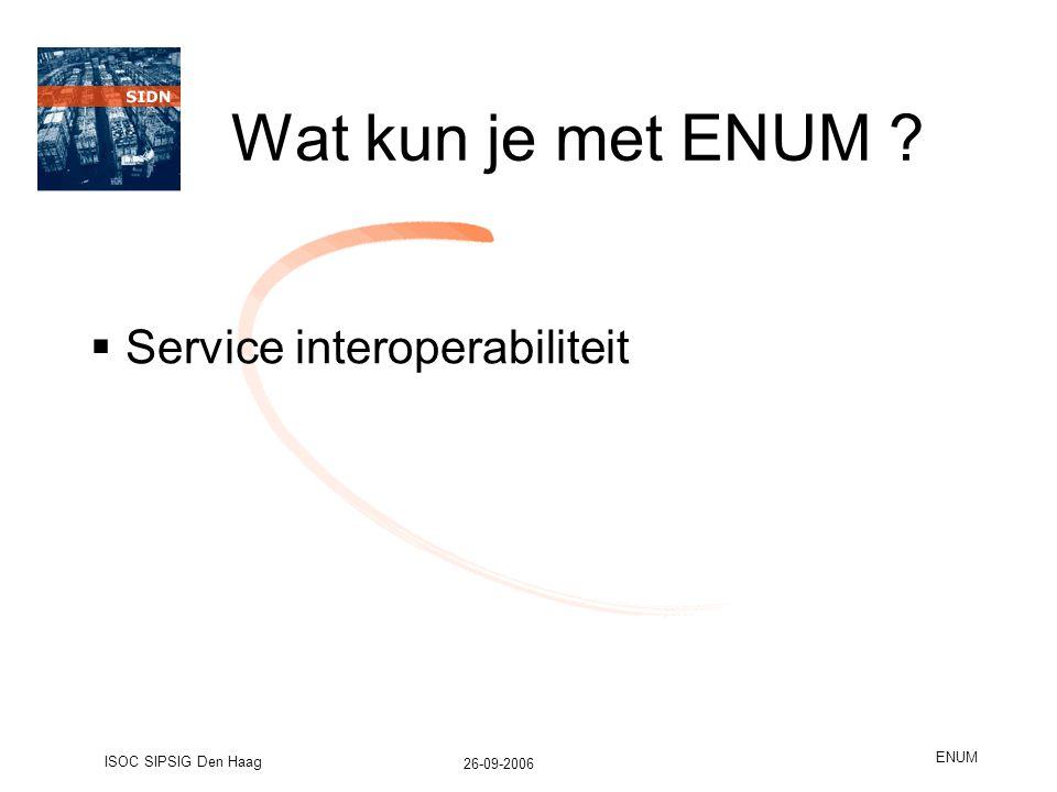 26-09-2006 ISOC SIPSIG Den Haag ENUM Wat kun je met ENUM  Service interoperabiliteit