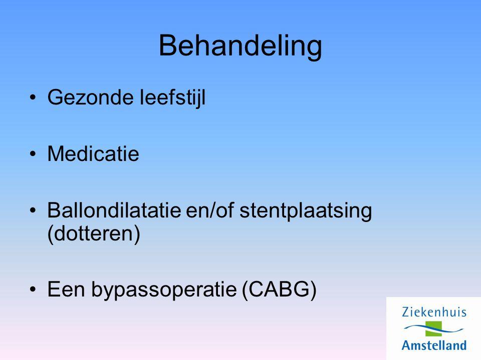 Behandeling Gezonde leefstijl Medicatie Ballondilatatie en/of stentplaatsing (dotteren) Een bypassoperatie (CABG)