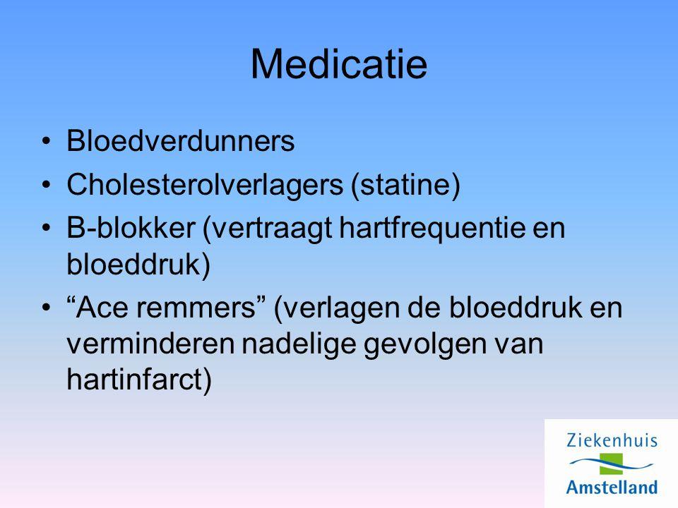 Medicatie Bloedverdunners Cholesterolverlagers (statine) B-blokker (vertraagt hartfrequentie en bloeddruk) Ace remmers (verlagen de bloeddruk en verminderen nadelige gevolgen van hartinfarct)