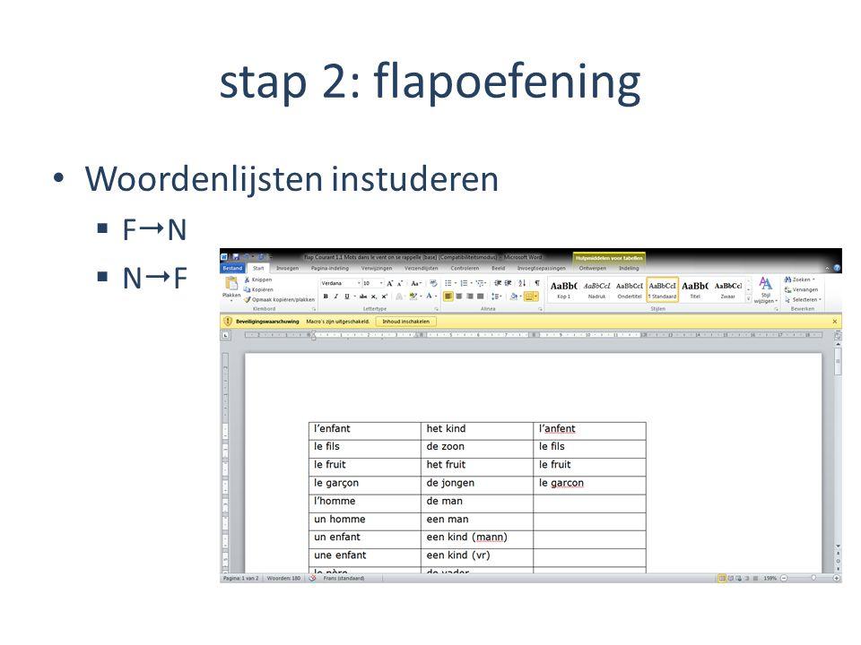 stap 2: flapoefening Woordenlijsten instuderen FNFN NFNF