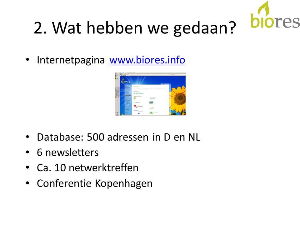 2. Wat hebben we gedaan? Internetpagina www.biores.infowww.biores.info Database: 500 adressen in D en NL 6 newsletters Ca. 10 netwerktreffen Conferent