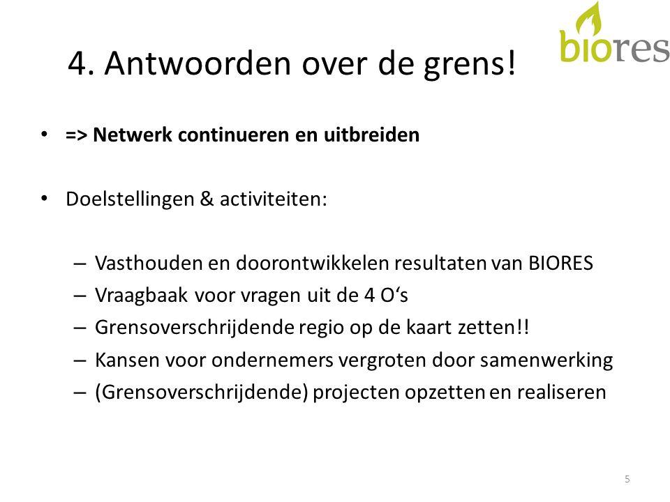 4. Antwoorden over de grens! => Netwerk continueren en uitbreiden Doelstellingen & activiteiten: – Vasthouden en doorontwikkelen resultaten van BIORES