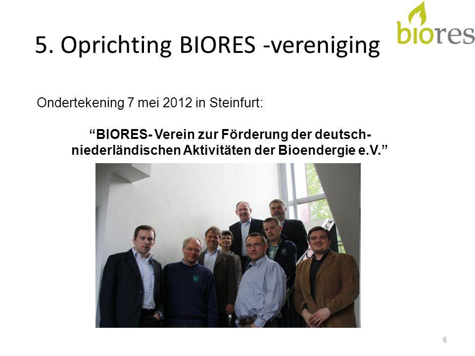 """5. Oprichting BIORES -vereniging 6 Ondertekening 7 mei 2012 in Steinfurt: """"BIORES- Verein zur Förderung der deutsch- niederländischen Aktivitäten der"""