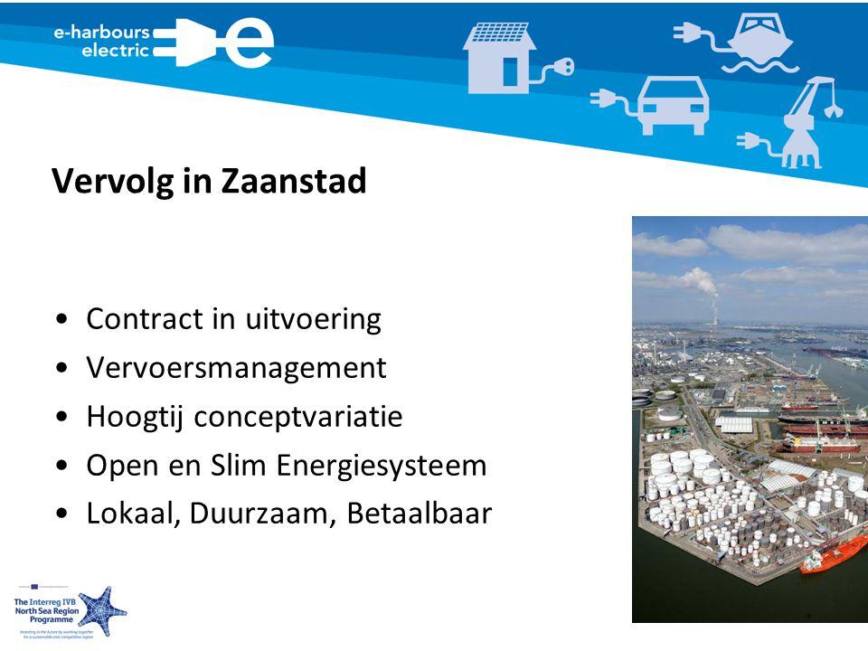 Vervolg in Zaanstad Contract in uitvoering Vervoersmanagement Hoogtij conceptvariatie Open en Slim Energiesysteem Lokaal, Duurzaam, Betaalbaar