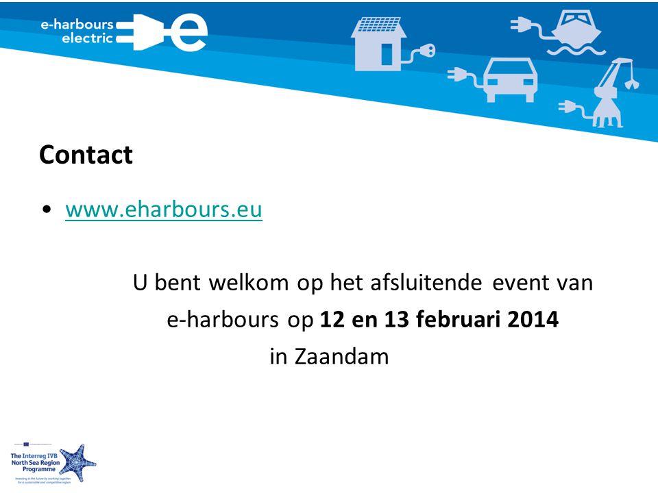 Contact www.eharbours.eu U bent welkom op het afsluitende event van e-harbours op 12 en 13 februari 2014 in Zaandam