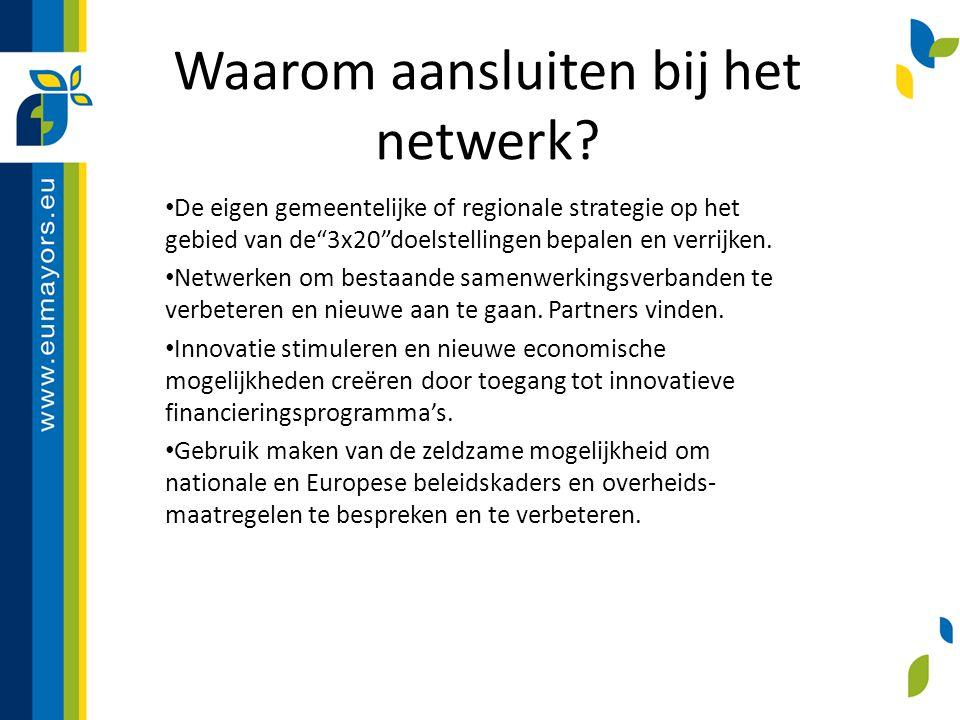 """Waarom aansluiten bij het netwerk? De eigen gemeentelijke of regionale strategie op het gebied van de""""3x20""""doelstellingen bepalen en verrijken. Netwer"""
