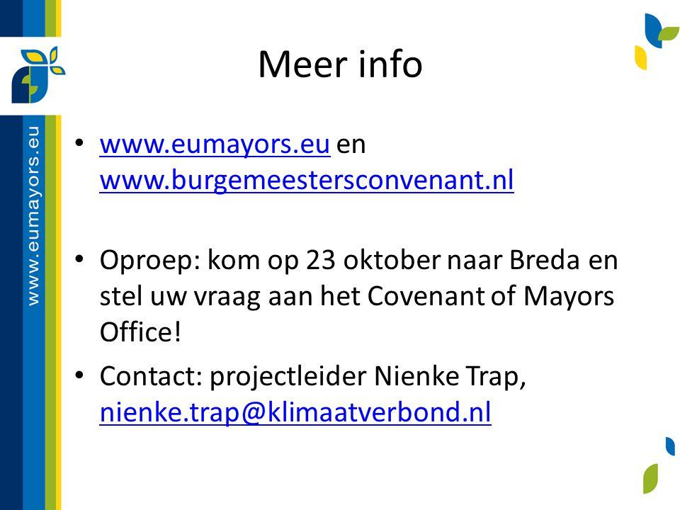 Meer info www.eumayors.eu en www.burgemeestersconvenant.nl www.eumayors.eu www.burgemeestersconvenant.nl Oproep: kom op 23 oktober naar Breda en stel