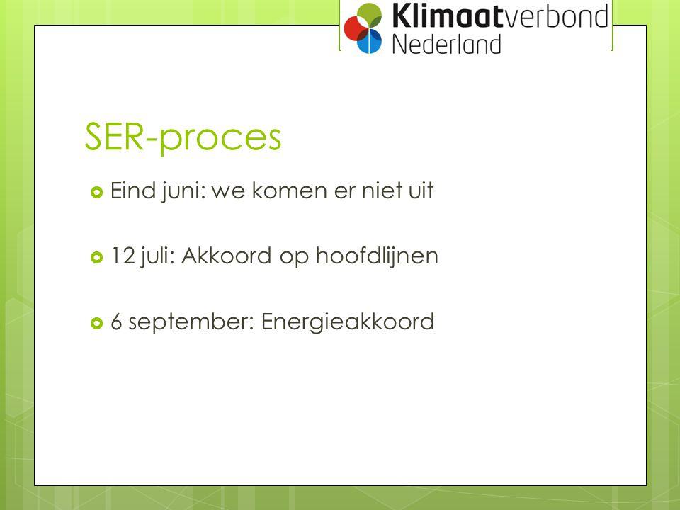 SER-proces  Eind juni: we komen er niet uit  12 juli: Akkoord op hoofdlijnen  6 september: Energieakkoord