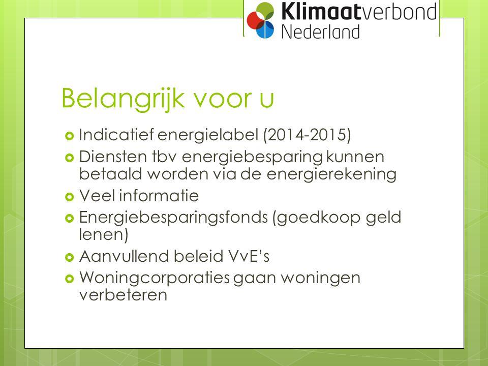 Belangrijk voor u  Indicatief energielabel (2014-2015)  Diensten tbv energiebesparing kunnen betaald worden via de energierekening  Veel informatie