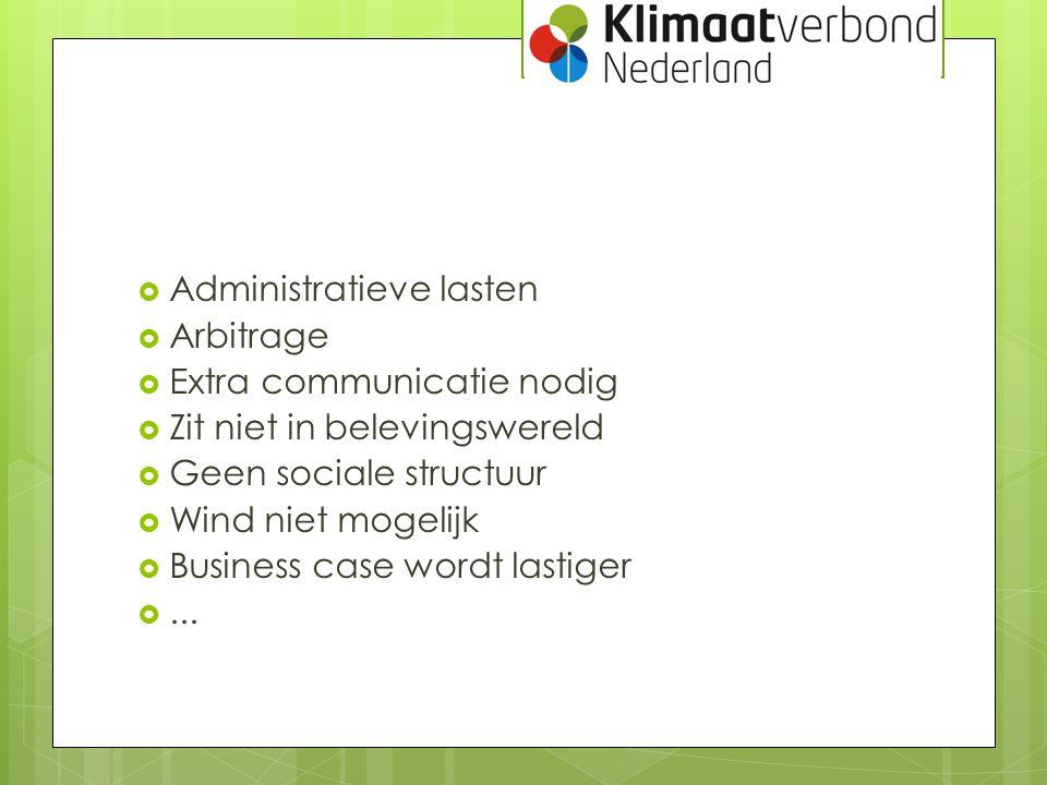  Administratieve lasten  Arbitrage  Extra communicatie nodig  Zit niet in belevingswereld  Geen sociale structuur  Wind niet mogelijk  Business
