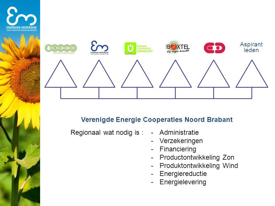 Aspirant leden Verenigde Energie Cooperaties Noord Brabant Regionaal wat nodig is :-Administratie -Verzekeringen -Financiering -Productontwikkeling Zo