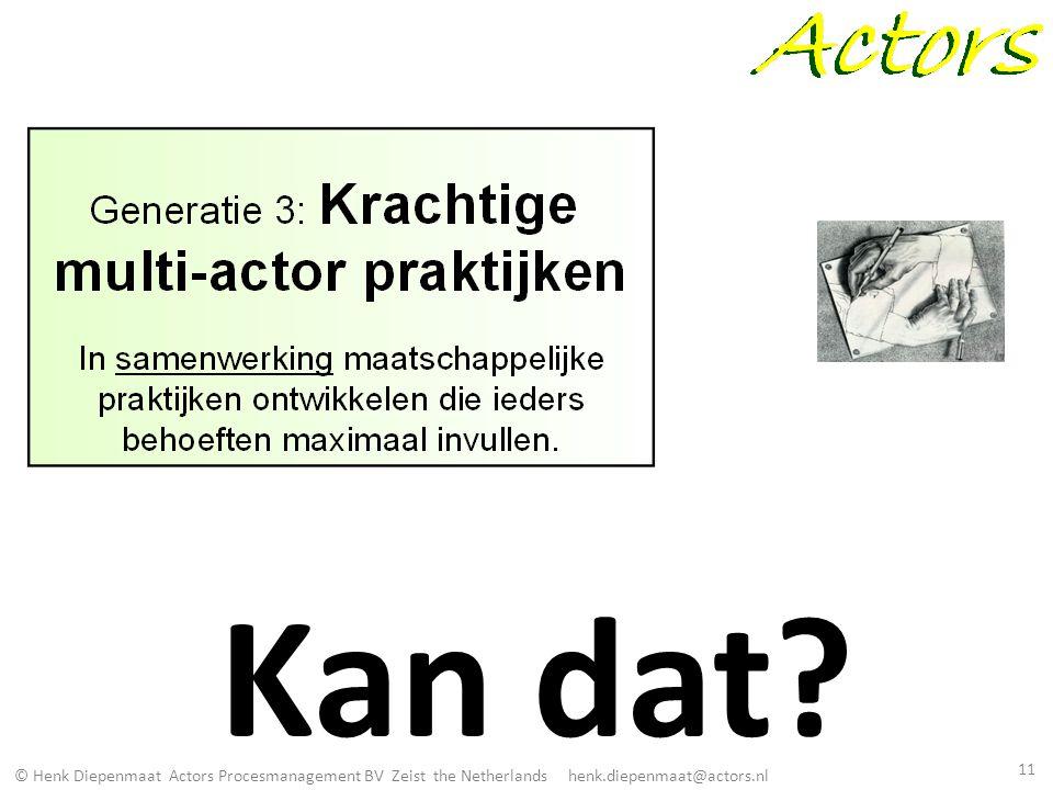 © Henk Diepenmaat Actors Procesmanagement BV Zeist the Netherlands henk.diepenmaat@actors.nl Kan dat? 11