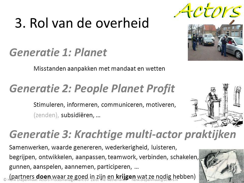 © Henk Diepenmaat Actors Procesmanagement BV Zeist the Netherlands henk.diepenmaat@actors.nl 3. Rol van de overheid Generatie 1: Planet Misstanden aan