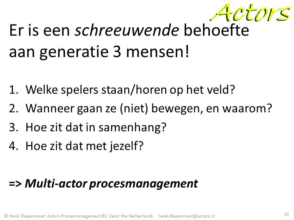 © Henk Diepenmaat Actors Procesmanagement BV Zeist the Netherlands henk.diepenmaat@actors.nl Er is een schreeuwende behoefte aan generatie 3 mensen! 1