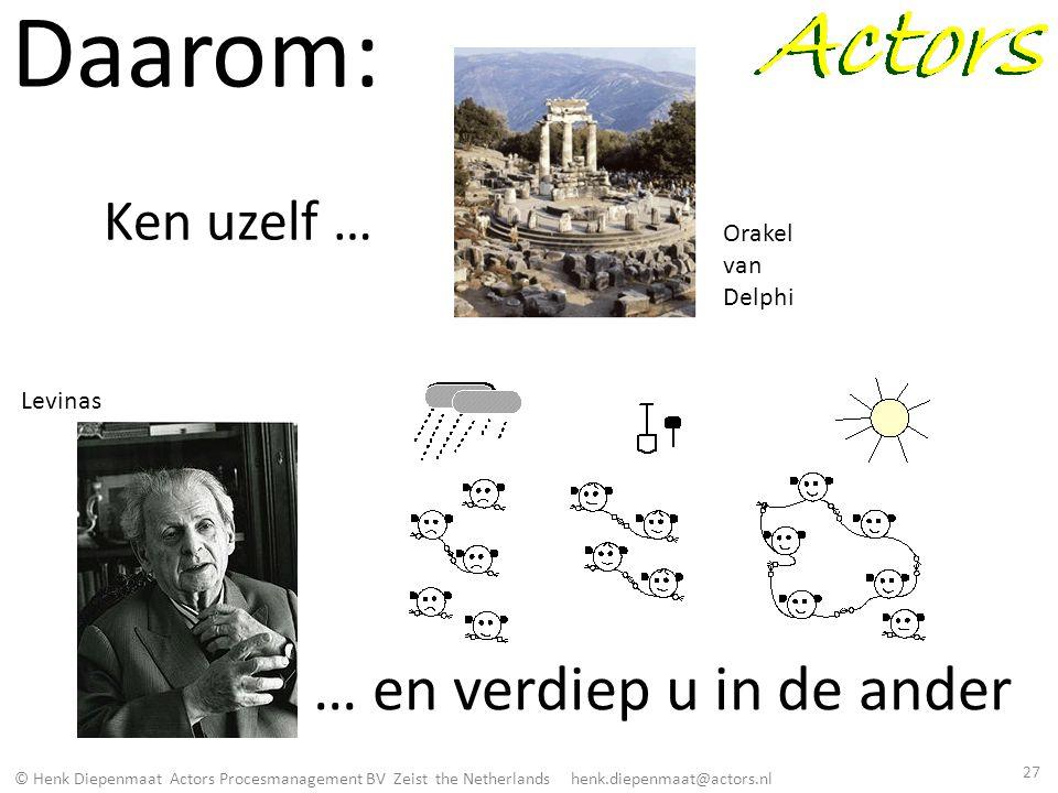 © Henk Diepenmaat Actors Procesmanagement BV Zeist the Netherlands henk.diepenmaat@actors.nl Daarom: Ken uzelf … … en verdiep u in de ander Orakel van