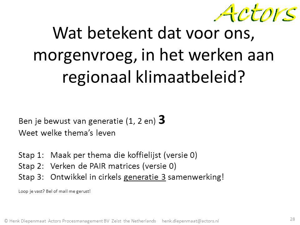 © Henk Diepenmaat Actors Procesmanagement BV Zeist the Netherlands henk.diepenmaat@actors.nl Wat betekent dat voor ons, morgenvroeg, in het werken aan