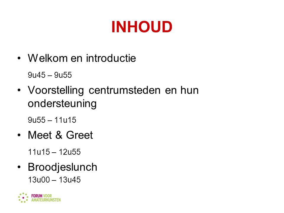 INHOUD Welkom en introductie 9u45 – 9u55 Voorstelling centrumsteden en hun ondersteuning 9u55 – 11u15 Meet & Greet 11u15 – 12u55 Broodjeslunch 13u00 – 13u45