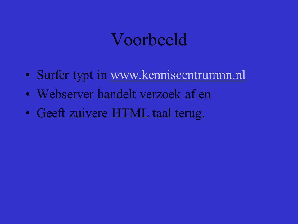 Voorbeeld Surfer typt in www.kenniscentrumnn.nlwww.kenniscentrumnn.nl Webserver handelt verzoek af en Geeft zuivere HTML taal terug.