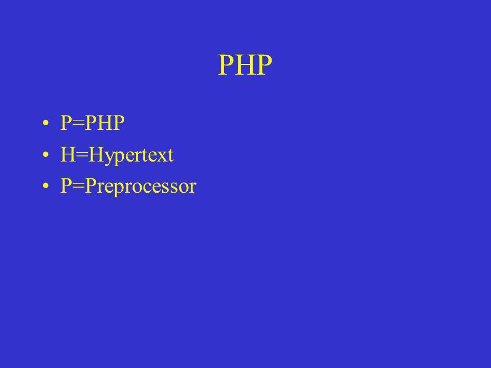 PHP P=PHP H=Hypertext P=Preprocessor