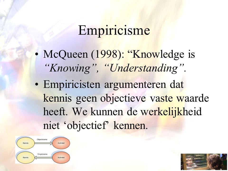 """Empiricisme McQueen (1998): """"Knowledge is """"Knowing"""", """"Understanding"""". Empiricisten argumenteren dat kennis geen objectieve vaste waarde heeft. We kunn"""