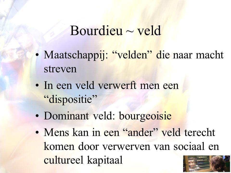 """Bourdieu ~ veld Maatschappij: """"velden"""" die naar macht streven In een veld verwerft men een """"dispositie"""" Dominant veld: bourgeoisie Mens kan in een """"an"""