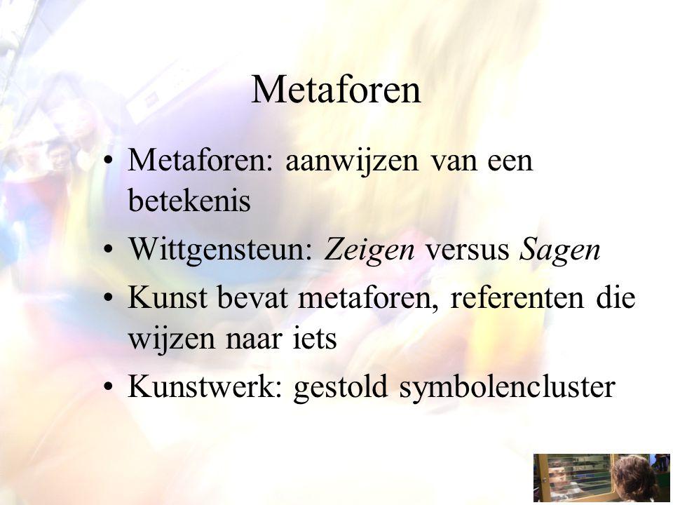 Metaforen Metaforen: aanwijzen van een betekenis Wittgensteun: Zeigen versus Sagen Kunst bevat metaforen, referenten die wijzen naar iets Kunstwerk: g