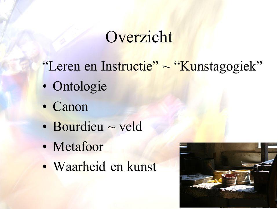 """Overzicht """"Leren en Instructie"""" ~ """"Kunstagogiek"""" Ontologie Canon Bourdieu ~ veld Metafoor Waarheid en kunst"""